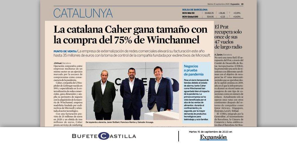Bufete Castilla, asesora a CAHER en la Adquisición del 75% del capital social de WINCHANNEL |Diario Expansión 15/09/2020